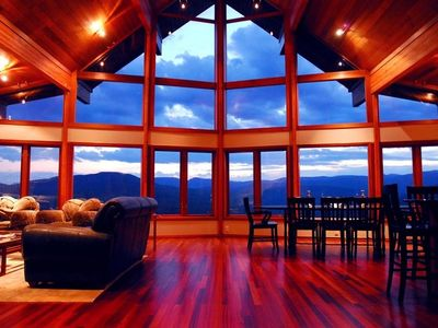 Evening view from main living area (Brazillian hardwood floors)