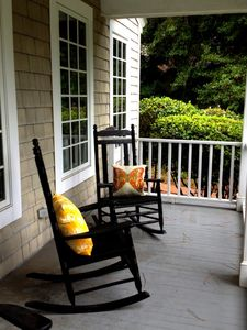 Enjoy one of our four antique rockers on the front porch!