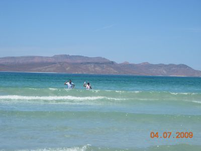 La Paz condo rental - Tecolote Beach with Isle Espirito Santo in the background