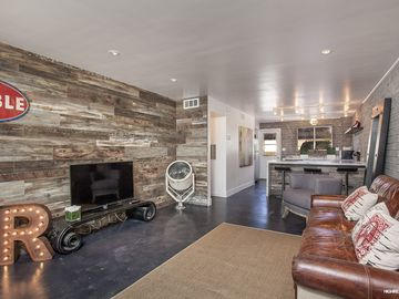 Old Town Scottsdale condo rental - kitchen and living room. Spacious open floorplan