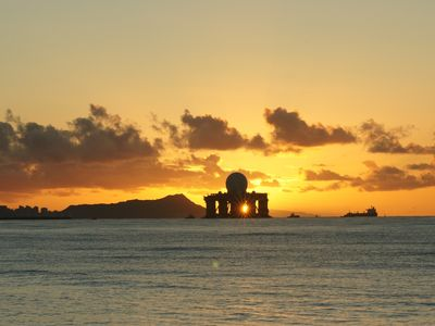 X-Band Radar leaving Pearl Harbor at sunrise. Sunsets are equally awesome!