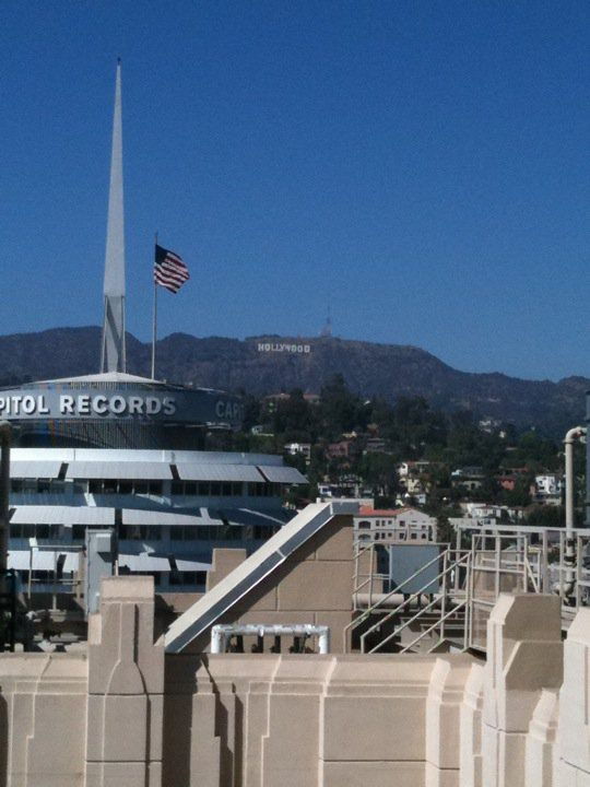 Views of Capitol Records and the Hollywood Sign from the Rooftop Patio