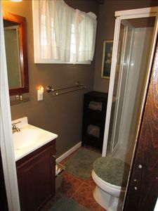 Bathroom is charming and complete with fresh towels for your stay.