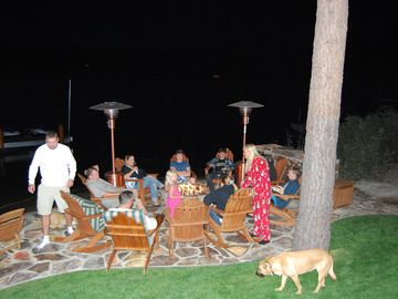 Lake side fire pit and bar.