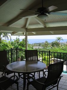 Outdoor dining rain or shine on covered lanai