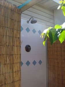 Outdoor tropical hot cold shower - the perfect way to refresh after th