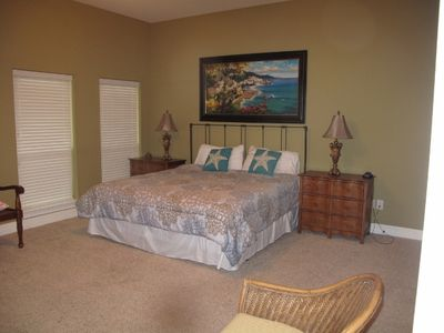 1 of Two Master Bedrooms with new large Tv and dvd.