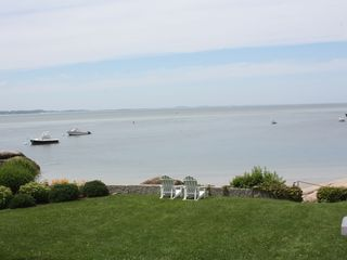 Gloucester - Annisquam house photo - A view of the ocean from our deck with steps leading down to the private beach.