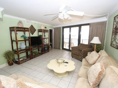Living Area with Flat-Screen TV and gulf view