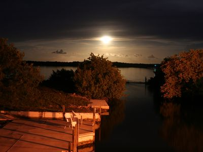 Full moon over the water,view from deck