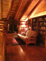 Grand Lake house photo - Loft library at night