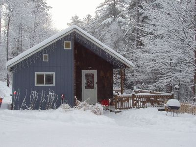 Snow-covered Cozy White Mountain Cabin