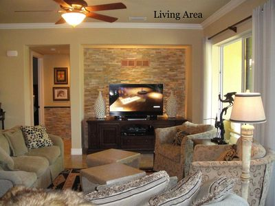 "So warm and attractive, stacked stone walls create an inviting mood. 55"" 3D TV"