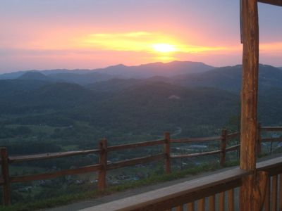 Sunset from Eagles View deck - Wears Valley, TN rental cabin