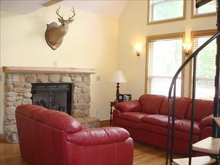 Cowen cabin photo - Family Space With Gas Fireplace, Hardwood Floors and Spiral Stair to Loft.