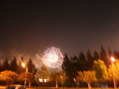 Watch spectacular fireworks right from dining room