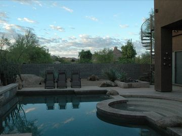 Scottsdale Troon house rental - The back yard offers privacy, views, pool, spa, ramada, fireplaces and veranda.