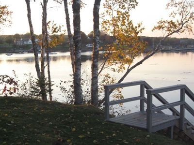 Steps lead to dock- a tranquil spot for boating