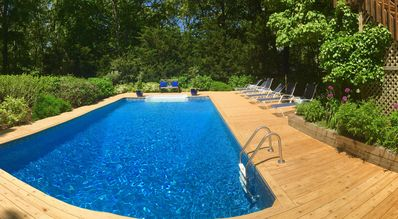 Beautiful landscaping surrounds the pool