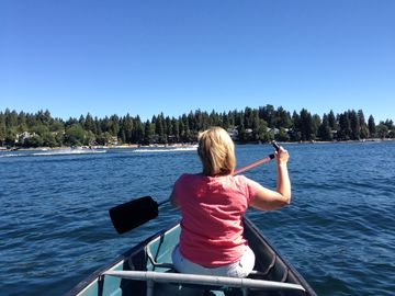 Lake Arrowhead house rental - Stroll the 2-mile wide lake in our canoe! (with our Optional Water package)