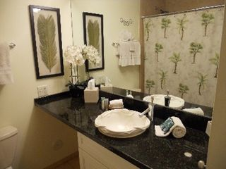 Wailea condo photo - Guest Bathroom with New Cabinets and Granite Counters