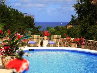 Cap Estate villa photo - Poolside Ocean View of Popular Sailing Channel. Lots of Sailboats Pass By Daily