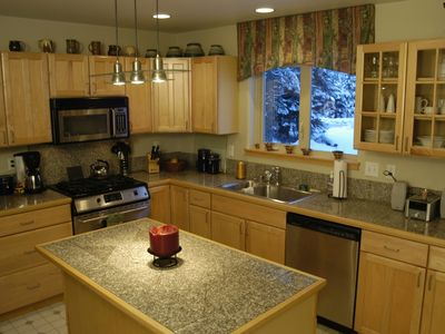 Large Spacious Kitchen, gas range, equipped with all your kitchen gadgets.