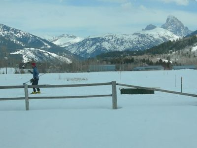 Cross Country Skiing right behind the house with Teton Views