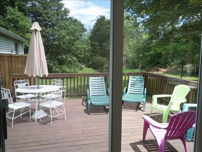 View to From Family Room to back deck, tree shaded yard and outside shower.