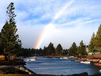 Tahoe Keys house rental - Rainbow on Thanksgiving 2012 after a brief rain shower to brighten up the day