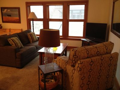 Cozy living room with new queen sofa bed and cable/dvd/wifi