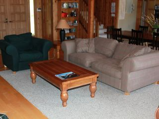Pender Island house photo - comfy family room for watching tv or light the tulikivi fireplace to keep warm