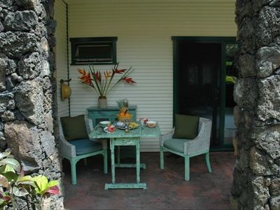 Seating area on the lanai in your private back garden and BBQ area.