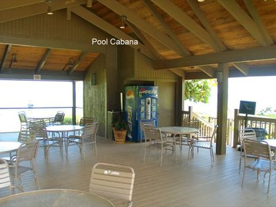 One of two Hawaiian pool cabanas with ocean view