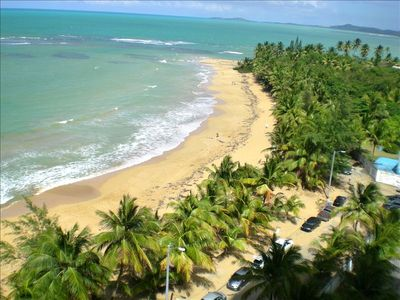 We are right on Playa Azul Beach in Luquillo! View to the east from our balcony!