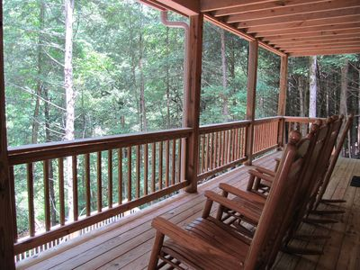 Ellijay cabin rental - Rock Away your Cares on the Main Level Deck Overlooking the Beautiful Stream.