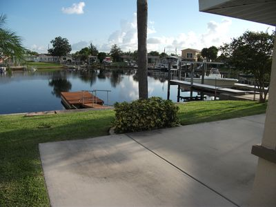 View from front lawn, new floating pier.