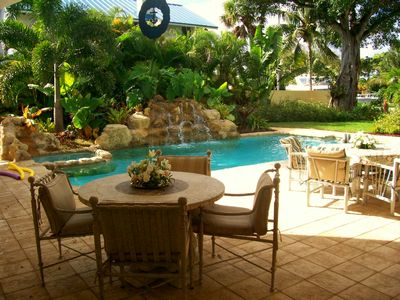 Tropical Back Yard with Two Waterfalls and heated pool!