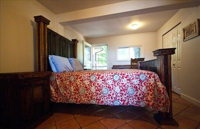 Beaver Island house rental - DOWNSTAIRS BEDROOM WITH FRONT AND BACK ENTRANCE - QUEEN SIZE MISSION VIEJO BED
