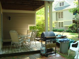 North Conway townhome photo - Nice back deck overlooking the peaceful backyard and brook