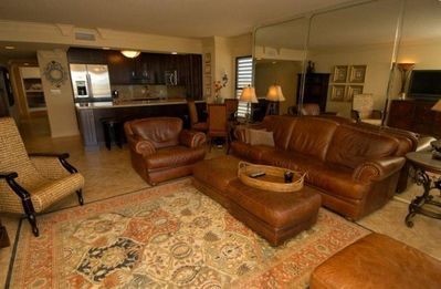 "Leather seating, 42"" flat screen TV, balcony overlooking the ocean"