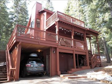 Donner Lake house rental - Big decks, easy winter access from the carport up to the front door