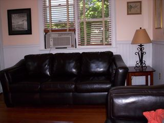 Provincetown condo photo - Living room with full size sofa bed and A/C