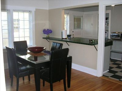view from formal dining room towards kitchen