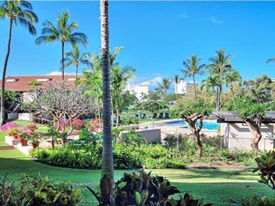 View of the gardens and pool from the lanai.