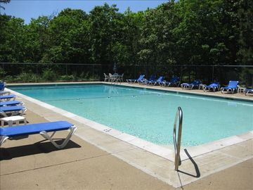 Our pool, reserved for Meetinghouse Village guests only. 75 yards from our house