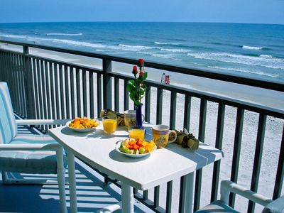 Breakfast at the balcony with an oceanfront view!