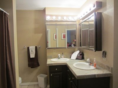 Master Bath w/dual sinks, tub/shower combo. Towels, face/body soap, hair dryer