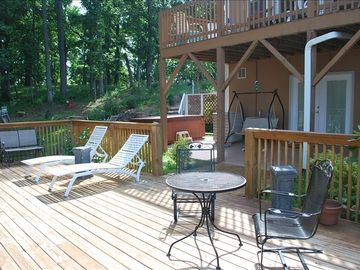 Spacious deck overlooking mountains and woods!