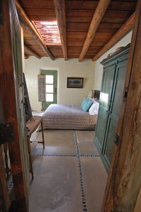 Santa Fe house rental - Entry view of bedroom 2 with double bed and bathroom